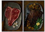 Before & After T-Bone Steak by Rodney Bedsole, a food photographer based in Nashville. Steak is on a sizzle platter and one is raw and one is cooked.
