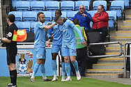 Coventry City midfielder Jordan Shipley (26) scores a goal and celebrates  1-0 during the EFL Sky Bet League 1 match between Coventry City and Shrewsbury Town at the Ricoh Arena, Coventry, England on 28 April 2019.
