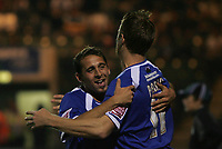 Photo: Lee Earle.<br /> Plymouth Argyle v Cardiff City. Coca Cola Championship. 12/09/2006. Cardiff's Paul Parry (R) congratulates Michael Chopra after he scored their third.