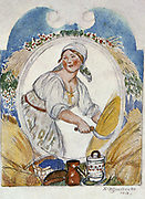 The Reaper', 1918. Boris Mikhaylovich Kustodiev (1878-1827) Russian painter and stage designer.  Woman reaping with sickle, surrounded by sheaves of corn, and her food and drink.  Agriculture