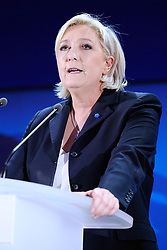 Far-right National Front leader Marine Le Pen addresses activists at the Espace Francois Mitterrand on April 23, 2017, in Henin-Beaumont, north of France. Le Pen will face centrist leader Emmanuel Macron in a run-off for the French presidency on 7 May, near-final results show. With 96% of votes counted from Sunday's first round, Mr Macron has 23.9% with Ms Le Pen on 21.4%. Photo by Aurore Marechal/ABACAPRESS.COM