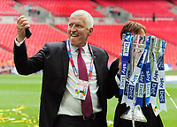Football - 2018 / 2019 EFL Sky Bet League Two Play-Off Final - Newport County vs. Tranmere Rovers<br /> <br /> Tranmere owner, Mark Palios with the trophy Nicola, at Wembley Stadium.<br /> He played for Tranmere in 1973<br /> <br /> COLORSPORT/ANDREW COWIE