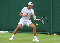 Tennis - 2017 Wimbledon Championships -<br /> Training sessions<br /> <br /> Rafa Nadal [Spain] training on court 14<br /> <br /> <br /> COLORSPORT/ANDREW COWIE
