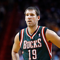22 January 2012: Milwaukee Bucks point guard Beno Udrih (19) rests during the Milwaukee Bucks 91-82 victory over the Miami Heat at the AmericanAirlines Arena, Miami, Florida, USA.