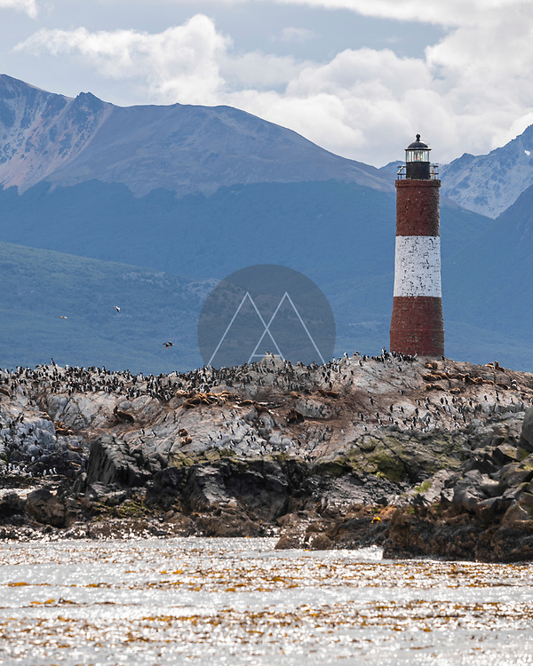 View of Les Éclaireurs Lighthouse, a famous landmark on Beagle channel near Ushuaia, Tierra del Fuego, Patagonia, Argentina.