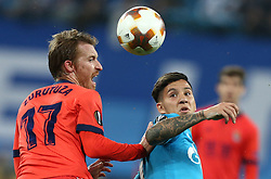 September 28, 2017 - Saint Petersburg, Russia - David Zurutuza of FC Real Sociedad (L) and Sebastian Driussi of FC Zenit Saint Petersburg vie for the ball during the UEFA Europa League Group L football match between FC Zenit Saint Petersburg and FC Real Sociedad at Saint Petersburg Stadium on September 28, 2017 in St.Petersburg, Russia. (Credit Image: © Igor Russak/NurPhoto via ZUMA Press)