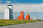 train and grain elevators<br /> Cabri<br /> Saskatchewan<br /> Canada