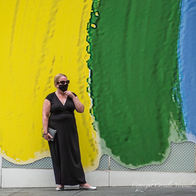Fashionable black ensemble seen on Fifth Avenue and 57th street today, June 3, 2020.
