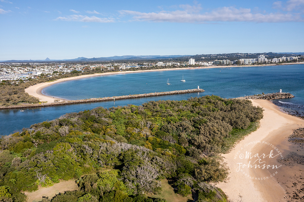 Aerial view of Pt Cartright (fg), Mooloola River Mouth, & Mooloolaba Beach, Sunshine Coast, Queensland, Australia