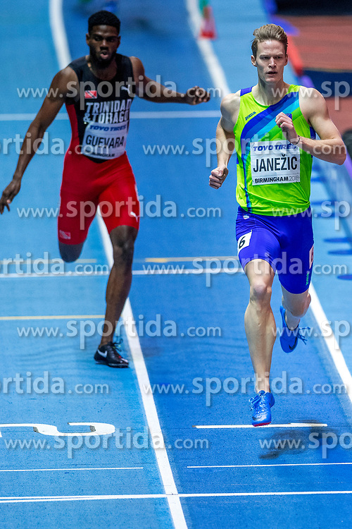 BIRMINGHAM, ENGLAND - MARCH 02: (L-R) Asa Guevara from Trinidad and Tobago and Luka Janezic of Slovenia compete during round 1 of the Men's 400m at the IAAF World Indoor Championships at Arena Birmingham on March 2, 2018 in Birmingham, England. Photo by Ronald Hoogendoorn / Sportida