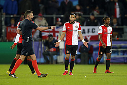 (l-r) referee Craig Thomson, Tonny Vilhena of Feyenoord during the UEFA Champions League group F match between Feyenoord Rotterdam and SSC Napoli at the Kuip on December 06, 2017 in Rotterdam, The Netherlands