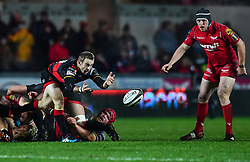 Dragons' Sarel Pretorius in action during todays match<br /> <br /> Photographer Craig Thomas/Replay Images<br /> <br /> Guinness PRO14 Round 13 - Scarlets v Dragons - Friday 5th January 2018 - Parc Y Scarlets - Llanelli<br /> <br /> World Copyright © Replay Images . All rights reserved. info@replayimages.co.uk - http://replayimages.co.uk