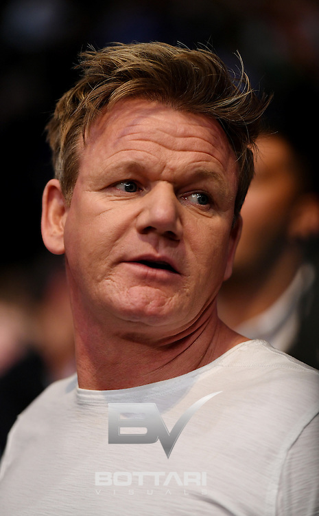 NEW YORK, NY - NOVEMBER 12:  Celebrity Chef Gordan Ramsey looks on during the women's bantamweight bout between Miesha Tate of the United States and Raquel Pennington of the United States during the UFC 205 event at Madison Square Garden on November 12, 2016 in New York City.  (Photo by Jeff Bottari/Zuffa LLC/Zuffa LLC via Getty Images)