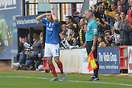 Enda Stevens of Portsmouth complains to the linesman for the goal given to Robbie Simpson of Cambridge United making it 1-0. Skybet football league two match, Cambridge Utd v Portsmouth at the Abbey Stadium  in Cambridge on Saturday 10th October 2015.<br /> pic by John Patrick Fletcher, Andrew Orchard sports photography.