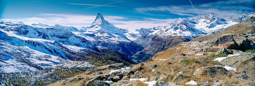 Panoramic view of the mountains with the Matterhorn in autumn, Zermatt, Wallis, Switzerland
