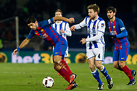 Real Sociedad's Asier Illarramendi and FC Barcelona's Luis Suarez during the match of Copa del Rey between Real Sociedad and  Futbol Club Barcelona at Anoeta Stadium in San Sebastian, Spain. January 19th 2017. (ALTERPHOTOS/Rodrigo Jimenez)