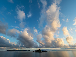 Central America, Costa Rica, Coiba National Park, Granito de Oro Island in Pacific Ocean, with huge clouds