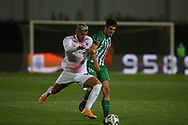 Hernandez of Milan in action with Lopes of Rio Ave during the Europa League match between Rio Ave FC and AC Milan at Estadio dos Arcos, Vila do Conde, Portugal on 1 October 2020.