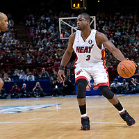 9 October 2008: Dwyane Wade of the Miami Heat dribbles against Vince Carter of the New Jersey Nets during the New Jersey Nets 100-98 overtime victory over the Miami Heat in an exhibition game at Bercy Arena, in Paris, France.