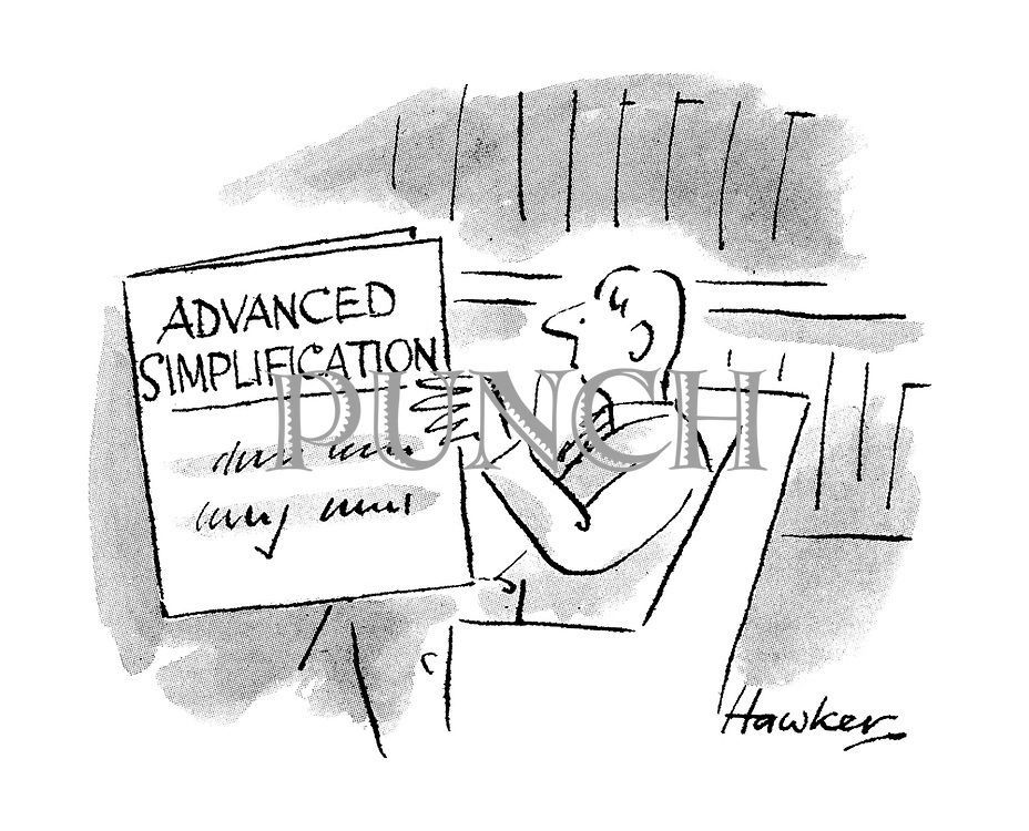 (A man reading a manual titled Advanced Simplification)