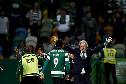 April 18, 2018 - Lisbon, Portugal - Sporting's coach Jorge Jesus (R) celebrates his team victory with Sporting's midfielder Marcos Acuna (L)  at end of  Portuguese Cup 2017/18 match between Sporting CP vs FC Porto, in Lisbon, on April 18, 2018. (Credit Image: © Carlos Palma/NurPhoto via ZUMA Press)