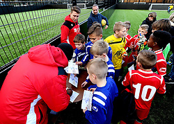 Mark Little and Luke Freeman of Bristol City sign autographs - Mandatory by-line: Robbie Stephenson/JMP - 23/11/2016 - FOOTBALL - South Bristol Sports Centre - Bristol, England - BCCT EFL Kids Cup