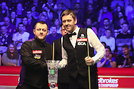 Mark Allen and Ricky Walden during the Ladbrokes Players Snooker Championship at Event City, Manchester, United Kingdom on 27 March 2016. Photo by Pete Burns.
