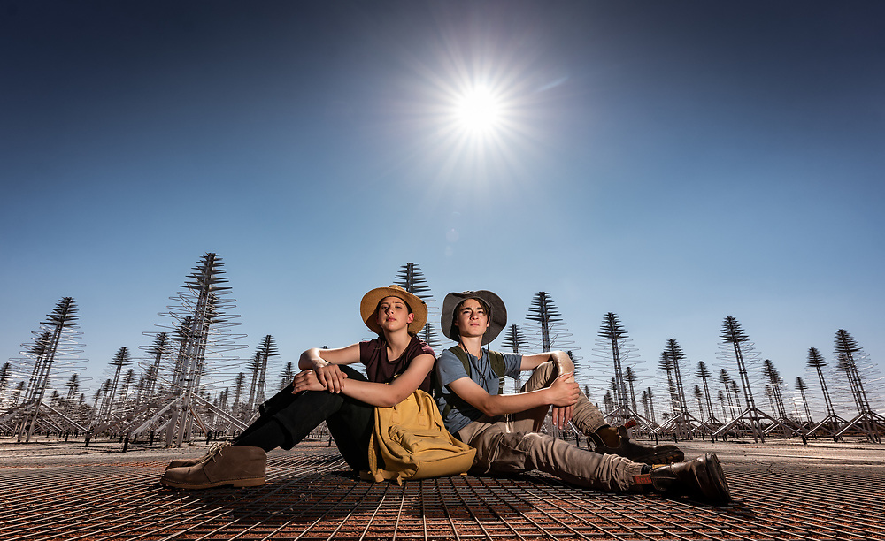 Lucia Richardson (13) and Max Winton (12) at the SKA's low frequency aperture array antennas in the Murchison region of Western Australia