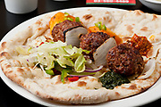 Indian Ethnical Food Keema Kofta (meat balls) on Naan Bread