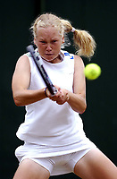 Emma Laine (Finalnd) in her girls singles match with Carly Gullickson (USA) Wimbledon Tennis Championship, Day 11, 4/07/2003. Credit: Colorsport / Matthew Impey DIGITAL FILE ONLY
