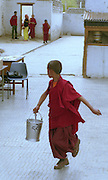 Ladakh Himalayas - Buddhist Monk sets up a solar panel - 2006