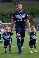 January 26, 2019 - Melbourne, VIC, U.S. - MELBOURNE, AUSTRALIA - JANUARY 26: Melbourne Victory midfielder Leigh Broxham (6) and his kids after winning the match at the Hyundai A-League Round 16 soccer match between Melbourne Victory and Sydney FC on January 26, 2019, at AAMI Park in VIC, Australia. (Photo by Speed Media/Icon Sportswire) (Credit Image: © Speed Media/Icon SMI via ZUMA Press)
