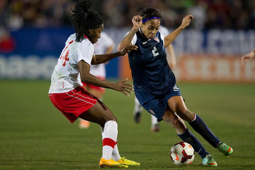 FRISCO, TX - JANUARY 31:  Sydney Leroux #2 of the U.S. Women's National Team controls the ball against the Canadian Women's National Team on January 31, 2014 at Toyota Stadium in Frisco, Texas.  (Photo by Cooper Neill/Getty Images) *** Local Caption *** Sydney Leroux