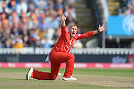 Matt Parkinson of Lancashire Lightning appeals for the wicket of Ross Whiteley during the Vitality T20 Finals Day Semi Final 2018 match between Worcestershire Rapids and Lancashire Lightning at Edgbaston, Birmingham, United Kingdom on 15 September 2018.
