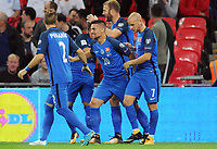 Football - 2017 / 2018 FIFA World Cup Qualifier - UEFA Group F: England vs. Slovakia<br /> <br /> Slovakian Stanislav Lobotka celebrates his goal with his team mates at Wembley Stadium.<br /> <br /> COLORSPORT/ANDREW COWIE