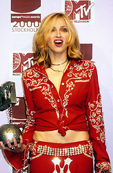 American singer Madonna with the Best Female award at the MTV Europe Music Awards held at the Globe Arena in Stockholm.