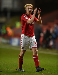 Charlton Athletic's George Lapslie applauds the home fans at full time