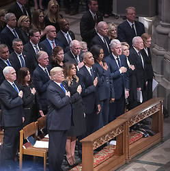 Dignitaries pay their respects as the casket containing the remains of the late former United States President George H.W. Bush at the National funeral service in his honor at the Washington National Cathedral in Washington, DC on Wednesday, December 5, 2018. Front row: United States President Donald J. Trump, first lady Melania Trump, former US President Barack Obama, former US President Bill Clinton, former US Secretary of State Hillary Rodham Clinton, former US President Jimmy Carter, former first lady Rosalynn Carter. Second row: US Vice President Mike Pence, Karen Pence, former US Vice President Dan Quayle, Marilyn Quayle, former US Vice President Dick Cheney, Lynne Cheney, former US Vice President Joe Biden, Jill Biden, former US Vice President Al Gore. Photo by Ron Sachs / CNP/ABACAPRESS.COM