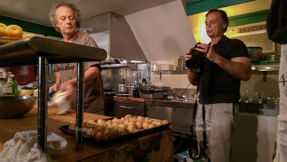 RSVP Restaurant West Cornwall CT. Kitchen and Food. Paul shooting Dessert Prep