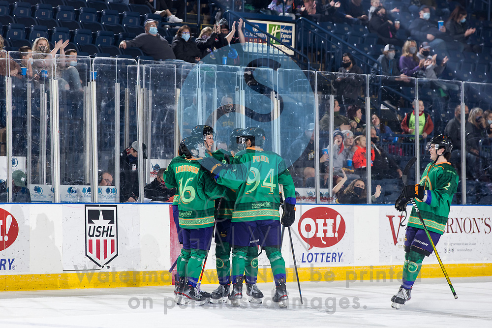 Youngstown Phantoms lose 5-4 to the Dubuque Fighting Saints at the Covelli Centre on March 13, 2021.<br /> <br /> Jack Larrigan, forward, 16; Reilly Funk, forward, 94; Mike Brown, defenseman, 2; Winter Wallace, forward, 77