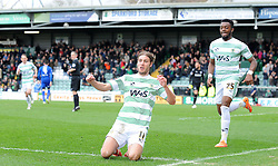 Yeovil Town's Sam Foley celebrates his sides goal  - Photo mandatory by-line: Harry Trump/JMP - Mobile: 07966 386802 - 03/04/15 - SPORT - FOOTBALL - Sky Bet League One - Yeovil Town v Chesterfield - Huish Park, Yeovil, England.