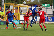 AFC Wimbledon defender Paul Kalambayi (30) with header on goal during the EFL Sky Bet League 1 match between AFC Wimbledon and Accrington Stanley at the Cherry Red Records Stadium, Kingston, England on 17 August 2019.