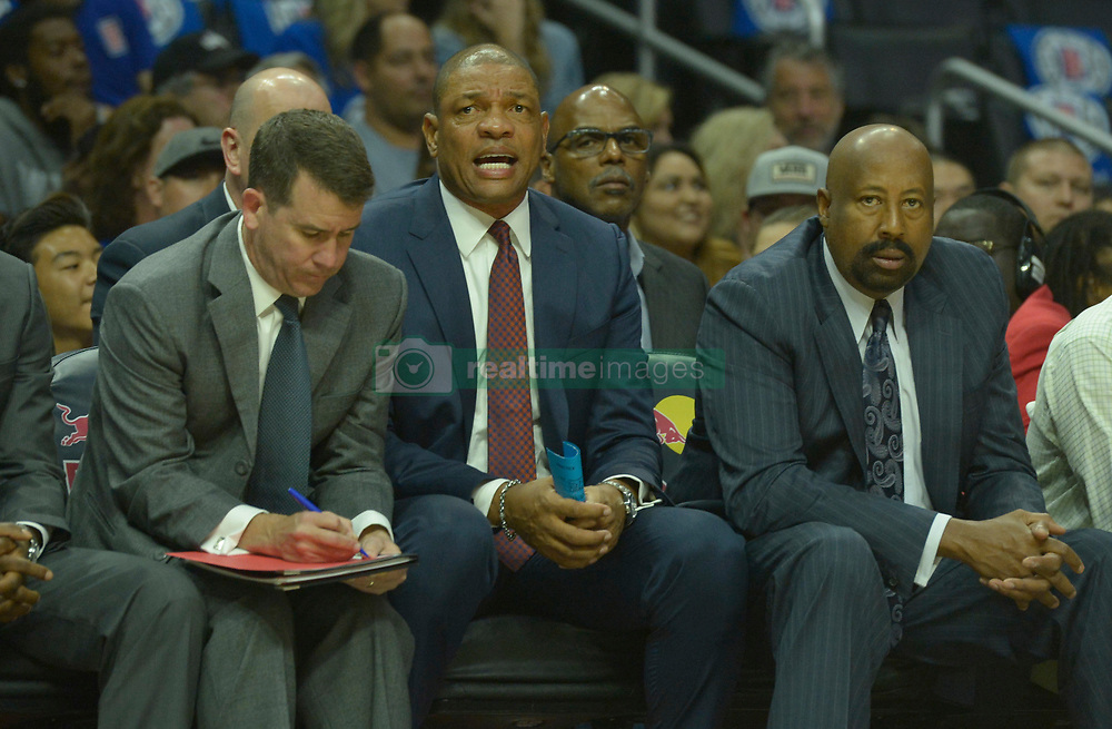 October 21, 2017 - Los Angeles, California, U.S. - Los Angeles Clippers head coach Doc Rivers, center, against the Phoenix Suns in the first quarter during an NBA basketball game at the Staples Center on Saturday, Oct 21, 2017 in Los Angeles. .(Photo by Keith Birmingham, Pasadena Star-News/SCNG) (Credit Image: © San Gabriel Valley Tribune via ZUMA Wire)