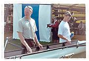 Henley on Thames, England, 1999 Henley Royal Regatta, River Thames, Henley Reach,  [© Peter Spurrier/Intersport Images], DEN LM4- Crew, Bow, Thomas EBERT,   Thomas Poulsen <br /> Eskild EBBESEN,  Stroke Victor FEDDERSEN,