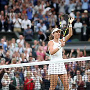 LONDON, ENGLAND - JULY 11:  Johanna Konta of Great Britain after victory against Simona Halep of Romania in the Ladies' Singles Quarter Final match on Center Court during the Wimbledon Lawn Tennis Championships at the All England Lawn Tennis and Croquet Club at Wimbledon on July 11, 2017 in London, England. (Photo by Tim Clayton/Corbis via Getty Images)