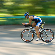 Cyclist at the New York Triathlon in Riverside Park, Manhattan