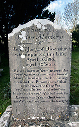 Grave of Benjamin Jesty in a churchyard in Worth Matravers, Dorset. During the 1774 smallpox epidemic he inoculated his wife and sons with Cowpox. Acting on the folk tale that milkmaids who contracted Cowpox gained immunity to the more lethal human Smallpox virus, also an airborne transmitted disease like the current Coronavirus. UK April 2020