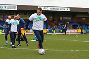 AFC Wimbledon striker Joe Pigott (39) warming up during the EFL Sky Bet League 1 match between AFC Wimbledon and Bolton Wanderers at the Cherry Red Records Stadium, Kingston, England on 7 March 2020.