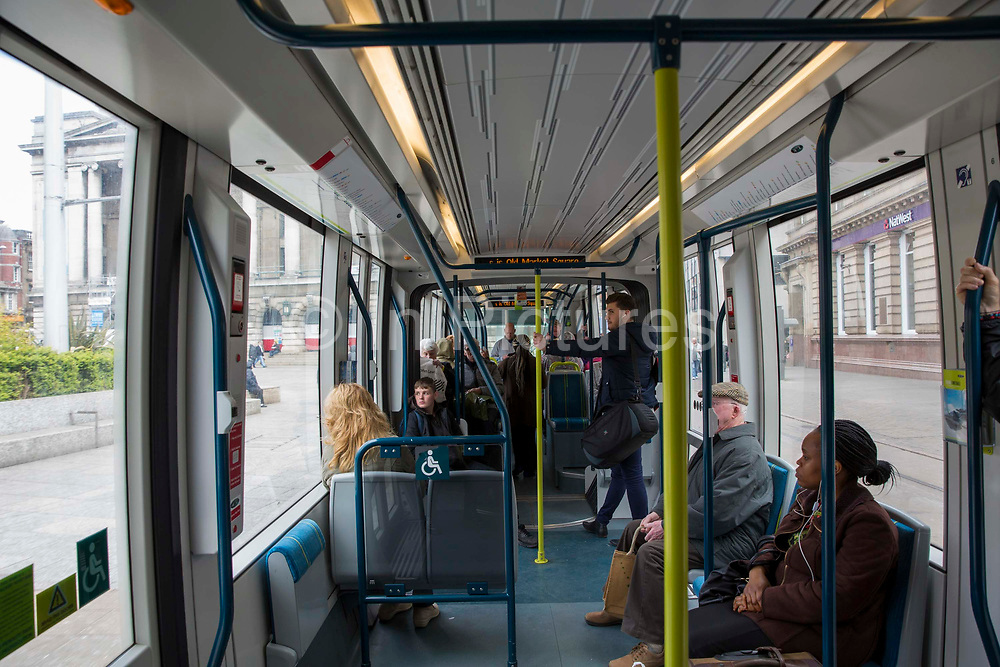 The interior of one of the National Express Transit NET trams in Nottingham, Nottinghamshire, United Kingdom.