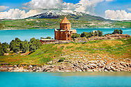 10th century Armenian Orthodox Cathedral of the Holy Cross on Akdamar Island, Lake Van Turkey 82.<br /> <br /> If you prefer to buy from our ALAMY PHOTO LIBRARY  Collection visit : https://www.alamy.com/portfolio/paul-williams-funkystock/lakevanturkey.html<br /> <br /> Visit our TURKEY PHOTO COLLECTIONS for more photos to download or buy as wall art prints https://funkystock.photoshelter.com/gallery-collection/3f-Pictures-of-Turkey-Turkey-Photos-Images-Fotos/C0000U.hJWkZxAbg